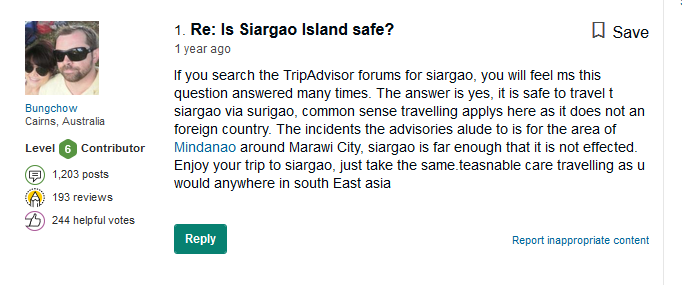 siargao safe foreigners