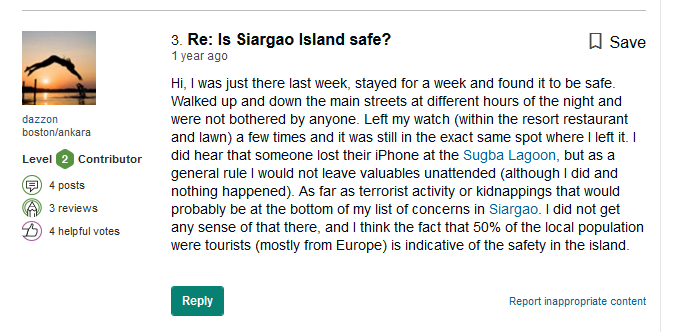 tourist are safe in siargao